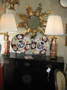 early 1700's 1mari chargers - red imari lamps 50's - chinese chest - star burst mirror