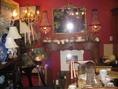 antique fireplace surround ,pair crystal sconces