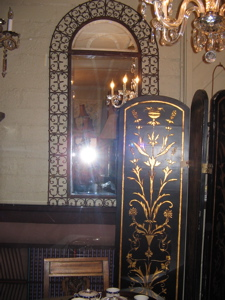 spanish iron mirror, black gold standing screen