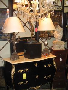 pair of ebony bombe chests, 4 panel mirror and metal screen